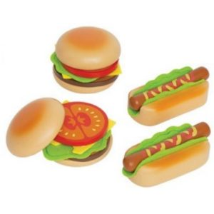 Hape houten hamburger en hotdogs